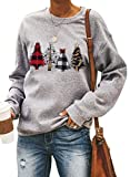 CANIKAT Womens Fashion Winter Xmas Round Neck Long Sleeve Sweatshirts Christmas Tree Print Loose Fit Holiday Pullovers Tops Gray Small