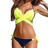 JiaMeng Bikini 2018, Sujetador Push-up Acolchado Traje de baño Baño Sexy Mujer Bikini Set Traje de baño (Amarillo, S)