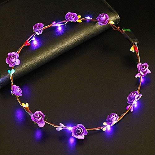 SimpleLife Led-haarkrans met ledverlichting voor dames, met bloemen, knipperend, gloeiend, kroon, party, krans