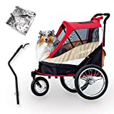 2-in-1 Dog Stroller and Bike Pet Trailer for Medium and Large Dogs - Heavy-Duty Pet Strollers with Air-Filled Tires, Rear Brake System - Premium Dog Buggies and Strollers