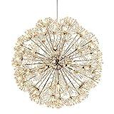 LCTCXD Dandelion 24 Luci luce di soffitto, in acciaio inossidabile pendente di cristallo di illuminazione a LED Globe Shape Lampadari for Living Room Restaurant Camera Cafe Isola della cucina