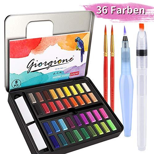 DIAOPROTECT Aquarellfarben,36 Wasserfarben Set,Aquarellfarben Kasten mit 8 Aquarellpapier,2 Wassertankpinsel,2 Pinsel,1 Mischpalette, Aquarellfarbkasten Set ideal für Kinder,Anfänger und Profis