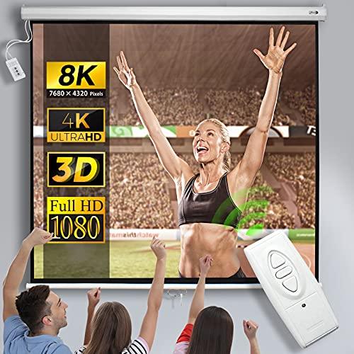 Jago® Motorleinwand mit Fernbedienung - Großenwahl, 1:1, 4:3, 16:9, HDTV, 8K, 4K Formate, Verstärkung 1,0, Weiß - höhenverstellbar, faltbar, elektrische Leinwand, Projektionsleinwand (203 x 152cm)