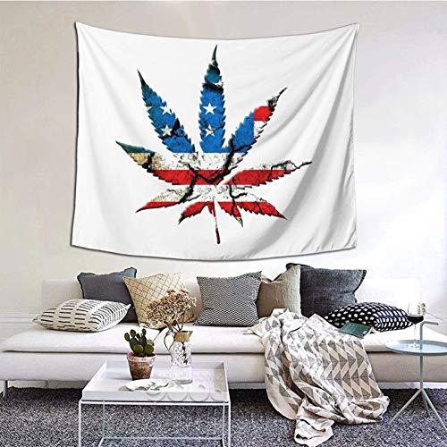 Manta decorativa de pared de la bandera americana de marihuana, para dormitorio, sala de estar, decoración de dormitorio, 60 x 151 cm, para interiores