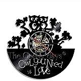 Reloj de pared de vinilo grabado Steampunk Reloj de pared de vinilo grabado Búho Steampunk Muebles Steampunk Búho Adornos Decoración Engranajes góticos Arte de la pared Decoración Regalos 12 pulgadas