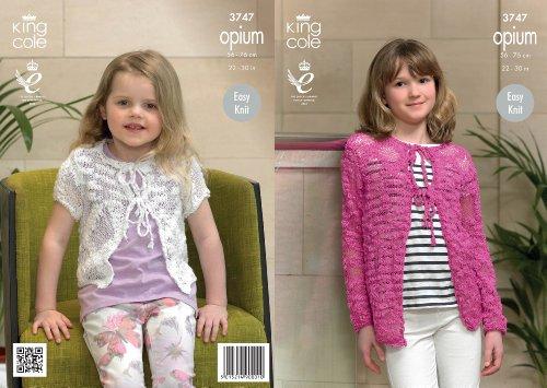 King Cole meisjes breien patroon kinderen Opium gemakkelijk gebreid lange mouwen vesten 3747