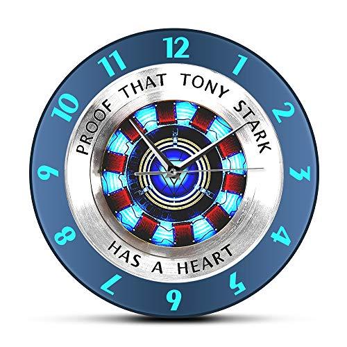 Prueba De Que Tony Stark Tiene Un Corazón ARC Reactor Pared Reloj Superhéroe Moderno Colgante Pared Ver Película Reloj De Decoración De La Decoración Arte De La Pared
