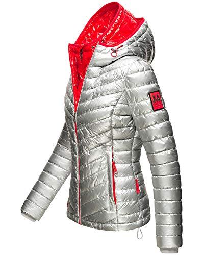 Marikoo Damen Winterjacke Steppjacke im Metallic Look mit doppelter Kapuze Lennjaa Silver/Red Gr. M