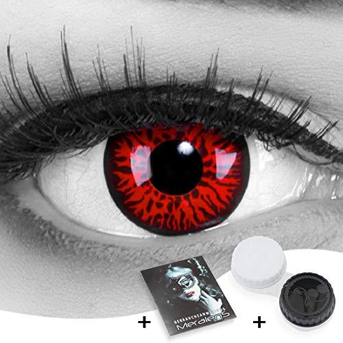 MeralenS 1 Paar farbige rote Crazy Fun red demon Jahres Kontaktlinsen.Topqualität zu Fasching, Karneval und Halloween mit gratis Kontaktlinsenbehälter ohne Stärke