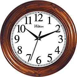 Ashton Sutton Round Quartz Analog Wall Clock, 12-Inch, Solid Wood Case with Cherry Finish