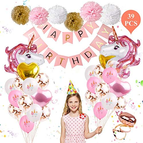 Unicorn Balloons Birthday Party Decorations - Unicorn Birthday Party Supplies Kit,Set of 39 Included Rose Gold Happy Birthday Banner ,Gold & Rose Gold Heart Balloons ,Paper Pom Poms for Baby Shower/Birthday Party By FengRise