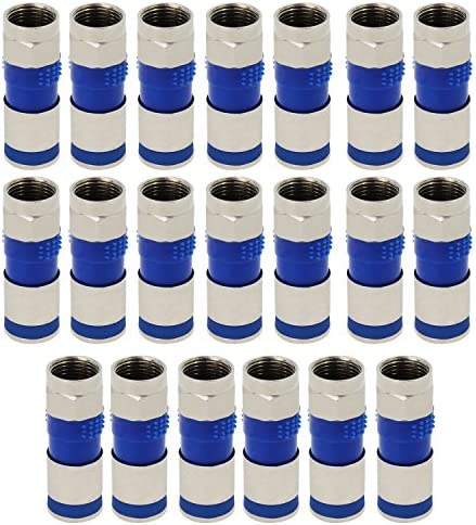 ESUMIC RG6 F Type Connector Coax Coaxial Compression Fitting 20Pack Blue1 product image