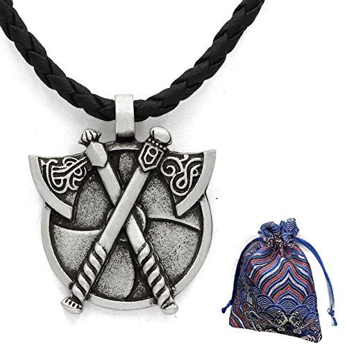 WLXW Nórdico de Viking Hacha Doble de Cuerpo Runa, Collar Pendiente Medieval Bárbaro Gladiador Protector Doble de Estaño, Y Los Hombres de la Manera Pendiente de la Mujer, 58 CM