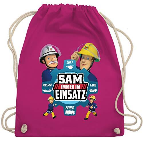 Shirtracer Feuerwehrmann Sam Tasche - Sam - Immer im Einsatz - blau - Unisize - Fuchsia - Statement - WM110 - Turnbeutel und Stoffbeutel aus Baumwolle