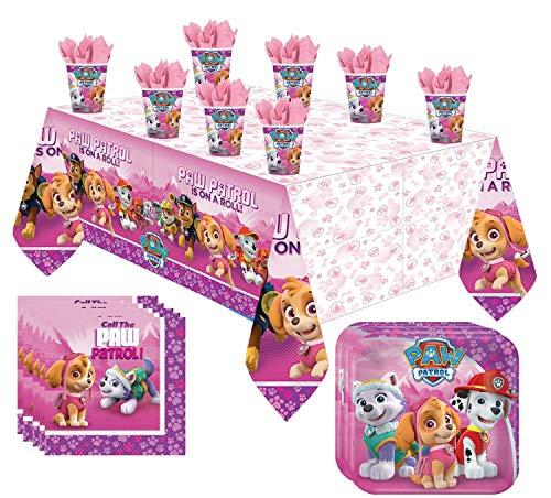 Libetui 37 Teile amscan Paw Patrol Party Geschirr Set Kindergeburtstag Teller Becher Servietten Tischdecke für 8 Kinder (Pink)