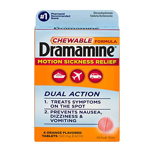 Dramamine Motion Sickness Relief Chewable Formula | 4 Orange Tablets (Travel and Trial Size)