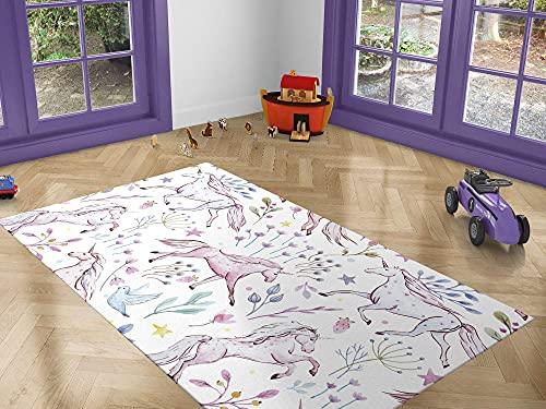 Oedim Alfombra Infantil Unicornios para Habitaciones PVC   95 x 165 cm   Moqueta PVC   Suelo vinílico   Decoración del Hogar   Suelo Sintasol   Suelo de Protección  