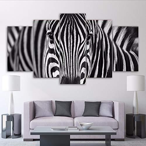 Cczxfcc Hd Prints canvas, muurschildering, kunst, decoratie thuis, fotolijst, 5 stuks, zebrapatroon, zwart en wit, voor woonkamer dieren 40x60/80/100cm-pas de Cadre