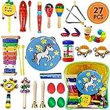 Yetech 22Pcs Juguetes Musicales Instrumentos Musicales Música Juguete Instrumento Educativo Bebés Regalos Mochila para los Niños