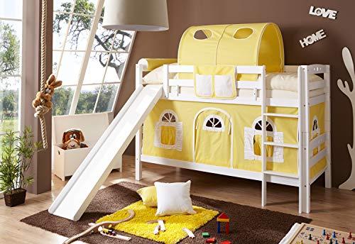 Etagenbett mit Rutsche Doppelbett Lupo Buche massiv Weiss mit Farbauswahl, Vorhangstoff:Gelb Weiss