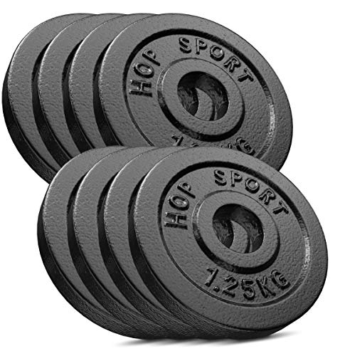 Hop-Sport Hantelscheiben 5kg 10kg 20kg 30kg 40kg Guss Gewichte Hantel Set Gewichtsscheiben 30mm (8 x 1,25 kg)