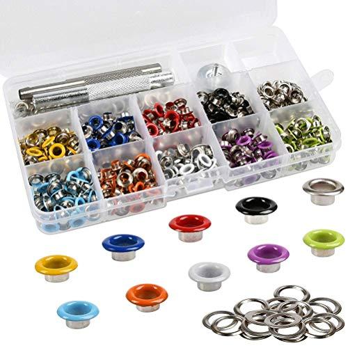 DODUOS 400 Stück Ösen Set, 5mm Metallösen mit 3tlg Installation Werkzeuge Kit, Bunte Planenösen mit Aufbewahrungsbox, Grommet Set für Taschen Schuhe Kleidung Handwerk, 10 Farben