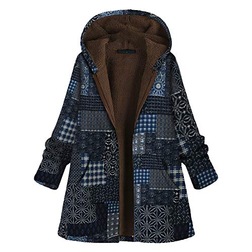UOFOCO Fall Jackets for Women Vintage Floral Print Fleece Hooded Long Sleeve Coat Outerwear