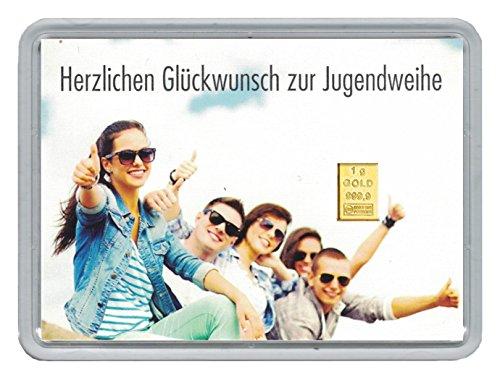 """1g Goldbarren 999,9 Feingold in Motivbox""""Herzlichen Glückwunsch zur Jugendweihe"""" in edler Goldverpackung (Klassik)"""