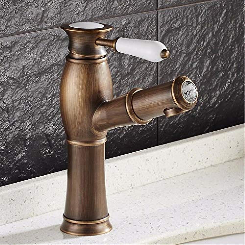 HUAIX Home Waschbecken-Mischbatterie Badezimmer-Küchen-Becken-Hahn auslaufsicher Wasser sparen Schwarz ziehen Sie unten volles Kupfer-heie und kalte Farbe um