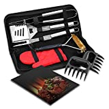 Esonmus Set di utensili per barbecue, accessori per grigliate in acciaio inox a 7 pezzi con custodia, artigli per carne, spatola per barbecue, pinza per grill, forchetta per barbecue