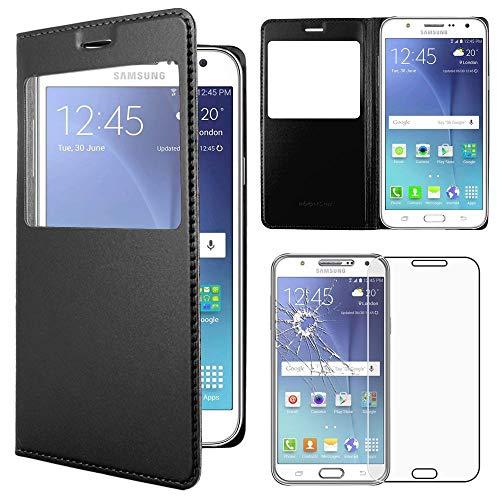 ebestStar - kompatibel mit Samsung Galaxy J5 Hülle SM-J500F (2015) Etui mit Sichtfenster Handyhülle, Kunstleder Wallet Case Wallet Case, Schwarz +Panzerglas Schutzfolie [Phone: 142.1x71.8x7.9mm 5.0