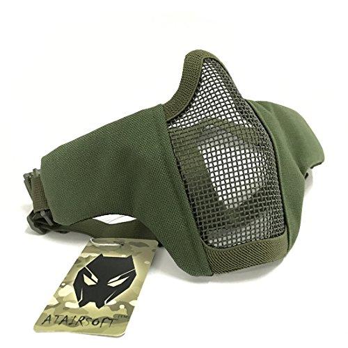 WorldShopping4U Tactical Airsoft CS Schutzkleidung Strike Stahl Halbmaske mit 2-Gürtel für Jagd Paintboll (OD Green)