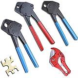 3 Pex Crimper Ring Crimping Tool Combo 3/8 1/2 3/4 Tool and 1-5/8 Ratchet Cutter Pipe Crimp Plumbing