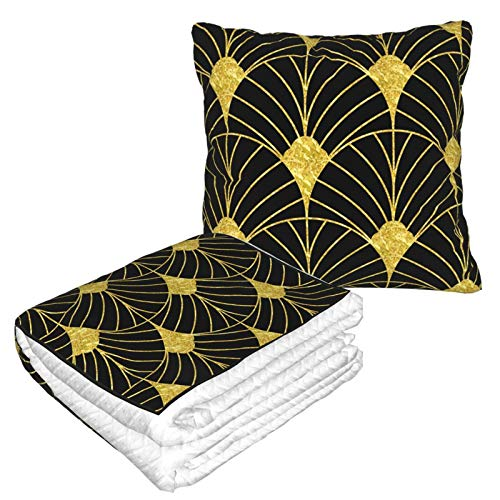 Manta de almohada de terciopelo suave 2 en 1 con bolsa suave de oro y negro Artdeco patrón geométrico funda de almohada para el hogar, avión, coche, viajes, películas