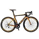 SAVADECK Phantom 2.0 700C Bicicleta de Carretera de Fibra de Carbono Shimano Ultegra R8000 22-Velocidad Sistema Michelin 25C Neumáticos Fi'zi: k Cojín (52cm, Negro Naranja)