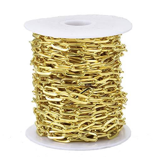Cheriswelry Cadenas de oro de 10 m, cable plano de hierro sin soldar, cadenas estiradas alargadas para collares con carrete para mujer
