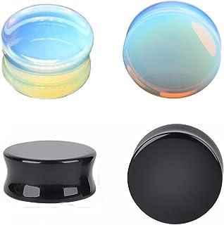 Kokoma Opalite Moonstone & Black Stone Ear Plugs Double Flared Earring Gauges Expander Tunnels Body Piercing Set