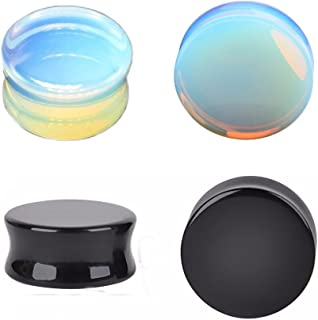 Opalite Moonstone & Black Stone Ear Plugs Double Flared Earring Gauges Expander Tunnels Body Piercing Set
