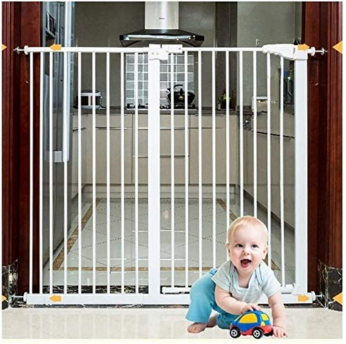 Safety Gate Stairway and Hallway Wall Mounted Dual Lock Baby Gates Easy Install Adjustable Extra Safe Stairway Child Safety Door Punch-free Pet Fence Pressure Fastening(H 78cm) Ideal for Kids and Pets