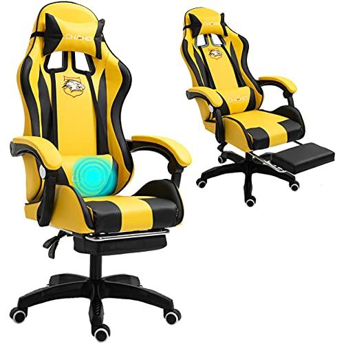 Computer-Gaming-Stuhl mit Massagegerät. Ergonomischer Bürostuhl Gaming-Rennstuhl, Computer-Stuhl, verstellbare Kopfstütze mit hoher Rückenlehne Fußstütze und Armlehne. Massage Gaming Stuhl (Gelb)