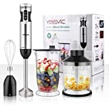 YISSVIC Immersion Hand Blender, 4 In 1 9 Speed Stick Blender with 500ml Food Grinder 700ml Container Chopper Whisk Puree Infant Food, Smoothies, Sauces Soups