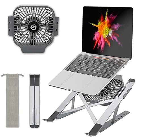 SK Studio Soporte Portátil Aluminio, Soporte Ventilado Ordenador Portátil con Ventilador, Laptop Stand Ajustable, Computadora Portatil Accesorios para Portatiles 10-17 Pulgadas