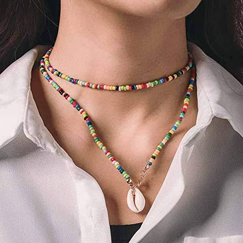 Chicque Boho - Collar largo con cuentas de concha y cadena colorida para mujeres y niñas