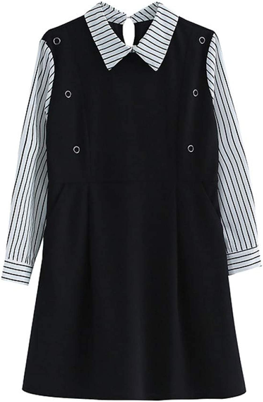 Cxlyq Dresses Fake TwoPiece Loose Loose Striped ALine Dress Female