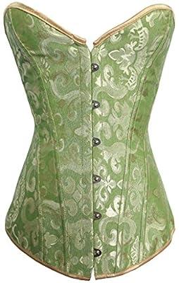 Alivila.Y Fashion Womens Sexy Brocade Vintage Corset 810-Green-2XL by