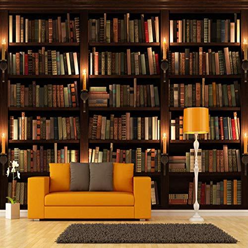 Fotobehang 3D stereo simulatie boekenkast foto wandfoto voor bibliotheek werkkamer woonkamer decor vlies behang 350cm (W) x 245cm (H)