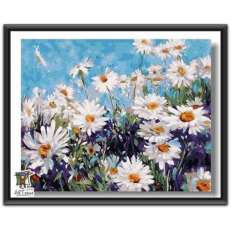 ARTomo【アトモ】パズル油絵『フレーム付き』数字 油絵 DIY 塗り絵 本格的な油絵が誰でも簡単に楽しく描ける 40x50cm (晴れた花)