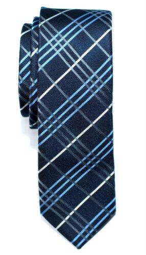 Retreez Cravate Fine Slim Tartan Plaid Check Tissée en Microfibres de bleu marin