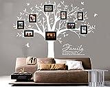 BDECOLL Familia grande como la rama en la pared Árbol Wall Decal Wall Sticker Cuarto de estar Nursery (El marco de la foto no está incluido) (Blanco)