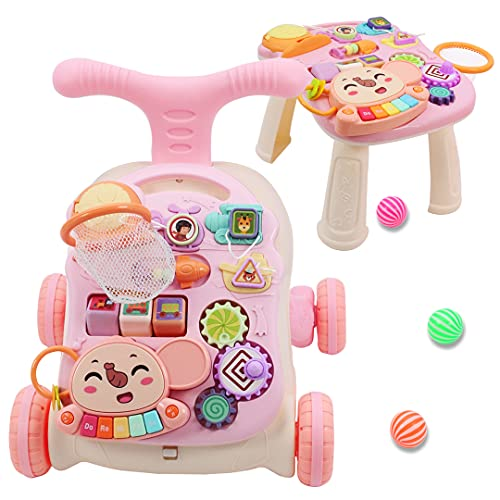 QDRAGON Sit-to-Stand Learning Walker, 2 in 1 Baby Walker with Wheels, Baby Entertainment Table, Kids Early Educational Activity Center, Baby Push Walkers for Boys and Girls, Pink